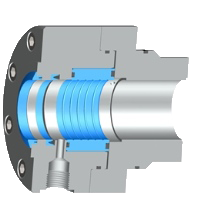 In the Servofloat® seal element the pressure in the cylinder chamber is discharged to the outside in a contact-free through a narrow no-contact throttle gap.